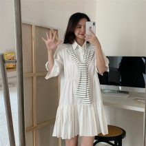 Dress Spring 2021 White, blue Average size Middle-skirt singleton  Short sleeve commute Polo collar Loose waist Solid color Pleated skirt other 18-24 years old Type H Retro 51% (inclusive) - 70% (inclusive)