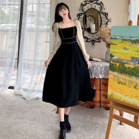 Dress Spring 2021 black M,L,XL,2XL,3XL,4XL Mid length dress singleton  Long sleeves commute square neck A-line skirt bishop sleeve 18-24 years old Type A Retro Splicing