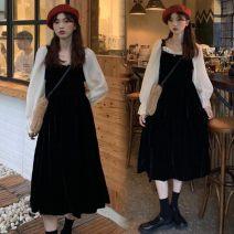 Dress Autumn 2020 Dark brown, black Average size singleton  Big swing 31% (inclusive) - 50% (inclusive)