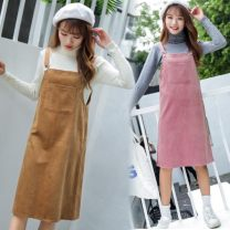 Dress Autumn 2020 Brown, grey, black, pink S,M,L,XL Middle-skirt singleton  Sweet straps 18-24 years old Other / other corduroy Mori