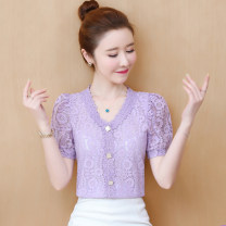 Lace / Chiffon Summer 2020 Purple, white, black [skirt] S,M,L,XL,2XL,3XL Short sleeve commute Cardigan singleton  easy Regular V-neck Solid color puff sleeve 25-29 years old Other / other Pleating, pleating, Gouhua, hollowing out, splicing, three-dimensional decoration, button, mesh, 3D, lace