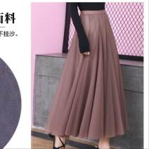 skirt Spring of 2018 Length of skirt is 86cm, suitable for body weight Zs9588 champagne P26, zs9588 black C87, zs9588 apricot F11, zs9588 gray Q83, zs9588 coffee T82 longuette Versatile High waist A-line skirt Type A 18-24 years old Ruffles, pleats, pleats, gauze, stitching, lace, taping