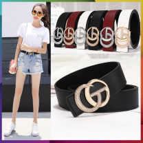 Belt / belt / chain Double skin leather Gold button black, gold button red, gold button white, silver button black, silver button red, silver button white female belt Versatile Single loop Youth, youth, middle age Smooth button Glossy surface soft surface 3.2cm alloy GG1 100cm,105cm,110cm,115cm