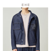 Jacket Ehe Youth fashion Denim dark blue 165/S 170/M 175/L 180/XL 185/XXL routine standard Other leisure spring Cotton 100% Long sleeves Wear out stand collar Simplicity in Europe and America youth Loose cuff Spring of 2019 Same model in shopping mall (sold online and offline) cotton More than 95%