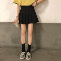 skirt Summer 2021 S,M,L White, black, gray, gray grid, black thickening, gray thickening, black after year, white after year, gray after year Short skirt commute High waist Pleated skirt Solid color Type A 18-24 years old Other / other Korean version