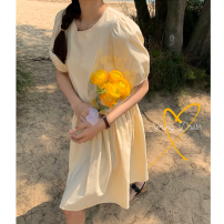 Dress Summer 2021 Black, goose yellow Average size Middle-skirt singleton  Short sleeve commute Crew neck High waist Solid color Socket other other Others 18-24 years old Type A 31% (inclusive) - 50% (inclusive) other cotton