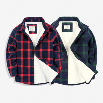 shirt Red, green Other / other male Taobao size 5A 110, Taobao size 6A 120, Taobao size 8A 130, Taobao size 10A 140, Taobao size 12a 150, Taobao size 14a 160 winter Long sleeves leisure time lattice cotton Lapel and pointed collar Cotton 95% other 5% Class B