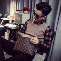 T-shirt / sweater Others Youth fashion Brown S,M,L,XL,2XL,3XL,XS routine Socket Lapel Long sleeves winter Slim fit 2019 leisure time tide youth routine lattice other Fine wool (16 and 14 stitches) man-made fiber Color contrast