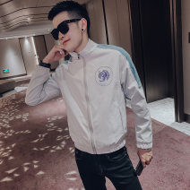 Jacket Other / other Youth fashion Milky white, black S,M,L,XL,2XL,XS routine Self cultivation Other leisure autumn Polyester 100% Long sleeves Wear out V-neck tide teenagers routine Zipper placket 2019 Cloth hem Closing sleeve Geometric pattern Thread embedding and bag digging