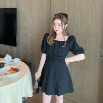 Dress Summer 2020 black L,XL,2XL,3XL Middle-skirt singleton  Short sleeve commute One word collar High waist Solid color Socket A-line skirt 25-29 years old Type A FATFATBABY Korean version ZY977 More than 95%