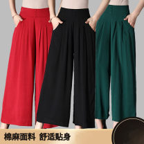 Casual pants Summer of 2019 Ninth pants Wide leg pants High waist Thin money 40-49 years old 51% (inclusive) - 70% (inclusive) cotton pocket cotton