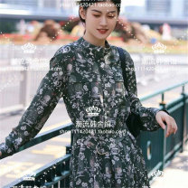 Dress Autumn 2020 Collector's dress 2/S155,4/M160,6/L165,8/XL170 Mid length dress singleton  Long sleeves commute Crew neck Socket routine Icicle / Zhihe Retro D23120648 More than 95% silk