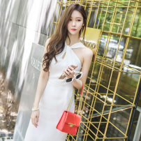 Dress Spring of 2019 white S,M,L longuette singleton  Sleeveless commute middle-waisted Solid color other One pace skirt Hanging neck style 25-29 years old Korean version zipper GS18B98620 More than 95% polyester fiber