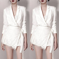 Dress Spring 2021 White, black S,M,L,XL Short skirt Two piece set Long sleeves commute V-neck High waist Solid color Socket A-line skirt routine Others 25-29 years old Type A Dai Wan'er Ol style brocade polyester fiber