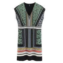 Dress Summer of 2018 Picture color S,M,L Short skirt singleton  street V-neck Decor Socket xz1808451719 Europe and America