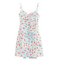 Dress Summer 2020 XS,S,M,L Short skirt singleton  Sleeveless street High waist Decor camisole printing Europe and America