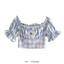 shirt Picture color [6981] S,M,L Summer 2020 cotton 51% (inclusive) - 70% (inclusive) Short sleeve street Short style (40cm < length ≤ 50cm) Socket puff sleeve lattice Self cultivation Europe and America