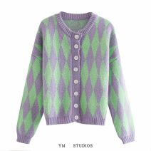 Wool knitwear Autumn 2020 Average size Picture color [8020] Long sleeves singleton  Cardigan acrylic fibres 51% (inclusive) - 70% (inclusive) Regular routine street easy V-neck Single breasted printing Europe and America