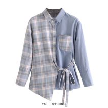 shirt Picture color S,M,L Spring 2021 cotton 51% (inclusive) - 70% (inclusive) Long sleeves street Regular Polo collar Single row multi button routine lattice Button Europe and America
