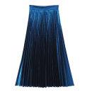 skirt Summer of 2019 S,M,L,XL,2XL longuette street High waist Pleated skirt Europe and America