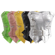 Vest sling Spring 2020 Silver, black, green, yellow, pink S,M,L singleton  have cash less than that is registered in the accounts Self cultivation street Solid color PU