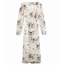 Dress Summer 2020 S,M,L longuette singleton  Long sleeves street V-neck Decor Lace up, printed Chiffon Europe and America