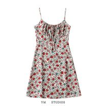 Dress Summer 2021 Red flower on white background [1178], dark green [1178], red flower on yellow background [1178] XS,S,M,L Short skirt singleton  Sleeveless street High waist Decor Socket A-line skirt routine camisole Type A printing polyester fiber Europe and America