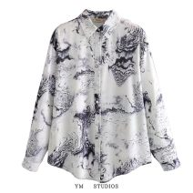 shirt Picture color [a210109] S, M Spring 2021 other 81% (inclusive) - 90% (inclusive) Long sleeves street Regular Polo collar Single row multi button routine Broken flowers Straight cylinder printing Europe and America blending