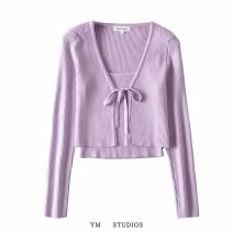 Wool knitwear Autumn 2020 S, M Purple [462], black [463], white [463], blue [463] Long sleeves Two piece set Cardigan acrylic fibres 51% (inclusive) - 70% (inclusive) have cash less than that is registered in the accounts routine street Self cultivation Solid color Europe and America