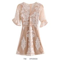 Dress Spring 2021 Picture color S,M,L Short skirt singleton  Short sleeve street V-neck High waist Solid color Socket other routine Others More than 95% other other Europe and America