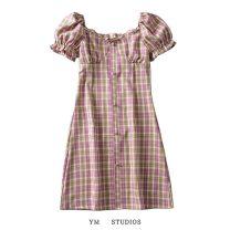 Dress Summer 2020 S,M,L Short skirt singleton  Short sleeve street square neck High waist lattice Socket A-line skirt puff sleeve Type A printing 51% (inclusive) - 70% (inclusive) cotton Europe and America