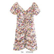 Dress Summer 2020 XS,S,M,L Short skirt singleton  Short sleeve street V-neck Decor Fold, print Europe and America