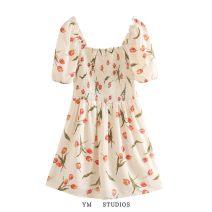 Dress Summer 2020 Design and color [0085] S,M,L Short skirt singleton  Short sleeve street square neck High waist Decor Socket printing Europe and America