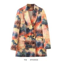 suit Autumn 2020 Picture color [3144] S,M,L Long sleeves routine easy tailored collar double-breasted street 51% (inclusive) - 70% (inclusive) Tie dyeing, printing