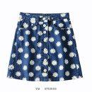 skirt Summer 2020 XS,S,M,L Black, denim Short skirt street High waist A-line skirt Decor Europe and America