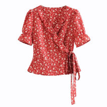 shirt Picture color [9175] S,M,L Summer 2020 other 51% (inclusive) - 70% (inclusive) Short sleeve street Short style (40cm < length ≤ 50cm) V-neck Frenulum Broken flowers Self cultivation dd1912452810 Lace up, printed Europe and America