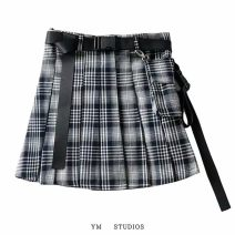 skirt Spring 2020 XS,S,M,L Picture color [wt303] Short skirt street High waist Pleated skirt lattice Europe and America