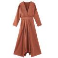 Dress Autumn of 2019 XS,S,M,L longuette singleton  Long sleeves street V-neck Elastic waist Solid color Socket Europe and America