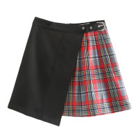 skirt Winter of 2019 XS,S,M,L Picture color [6601] Short skirt street High waist A-line skirt lattice Splicing Europe and America