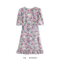 Dress Summer 2020 Picture color [6321] S,M,L Short skirt singleton  Short sleeve street V-neck High waist Broken flowers Socket Ruffle, print 51% (inclusive) - 70% (inclusive) other Europe and America