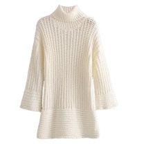Dress Winter of 2019 Off white, grey S,M,L Short skirt singleton  Long sleeves street High collar Solid color Socket knitting Europe and America