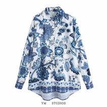 shirt Picture color [1024] XS,S,M,L Spring 2021 other 71% (inclusive) - 80% (inclusive) Long sleeves street Regular Polo collar Single row multi button routine Broken flowers Straight cylinder printing Europe and America
