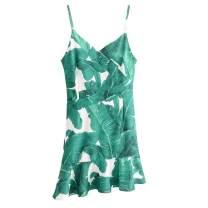 Dress Summer of 2018 green S,M,L Short skirt singleton  street V-neck Socket Irregular skirt camisole printing Europe and America