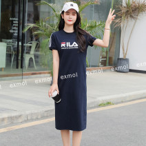 Dress Summer 2021 M,L,XL,2XL,3XL longuette singleton  Short sleeve commute Crew neck Loose waist Solid color Socket A-line skirt routine Others Type A EXMOL Korean version printing More than 95% brocade cotton