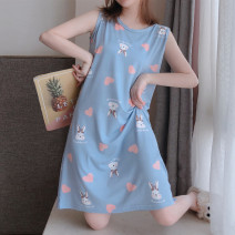 Nightdress Other / other 160(M),165(L),170(XL),175(XXL) Sweet Sleeveless Leisure home Middle-skirt summer Cartoon animation youth Crew neck cotton printing 81% (inclusive) - 95% (inclusive) pure cotton 200g and below