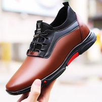 Low top shoes Black, black increased by 8 cm, brown, brown increased by 8 cm 37,38,39,40,41,42,43 Other / other Double skin (except cattle suede) Elastic band Round head Outdoor leisure shoes Superfibria leisure time daily Solid color Internal elevation spring and autumn rubber increase Sewing PU