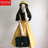 Dress 18-24 years old XSZ18070701 Reliangogo / dog in love Summer 2018 Short sleeve Crew neck Two piece set commute High waist Solid color other 71% (inclusive) - 80% (inclusive) Condom Ruffle Skirt cotton Type A Korean version straps Ruffles, ruffles, folds, lace up, buttons S,M,L