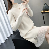 Dress Winter of 2019 Beige Khaki blue black S M L XL Mid length dress singleton  Long sleeves commute Half high collar middle-waisted Solid color Socket other routine Others 25-29 years old Chimera Korean version Button mesh stitching S12418 More than 95% knitting other Other 100%