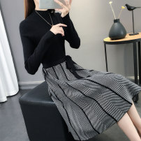 Dress Winter of 2019 Black red Khaki Blue Coffee S M L XL longuette singleton  Long sleeves commute Half high collar High waist Solid color Socket A-line skirt routine Others 25-29 years old Type A Chimera Korean version Splicing bandage P6606 More than 95% knitting other Other 100%