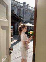 Dress Summer 2021 S,M,L Short skirt singleton  Short sleeve commute stand collar High waist Broken flowers A-line skirt puff sleeve Others Type A Korean version 30% and below other other
